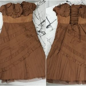BCBG Brown Silk Blend Corset Lace Up Dress Size 4